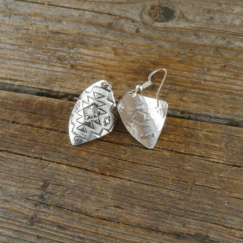 Delbert Shirley Silver Stamp Earrings