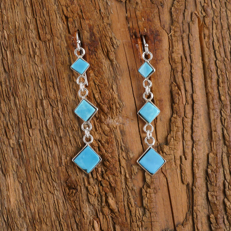 Thersa Kinsel Turquoise Feather Tassel Earrings