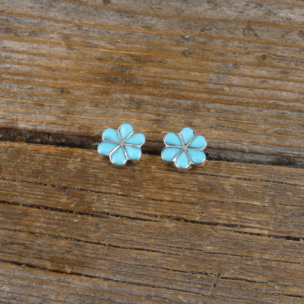 Turquoise Flower Petal Earrings