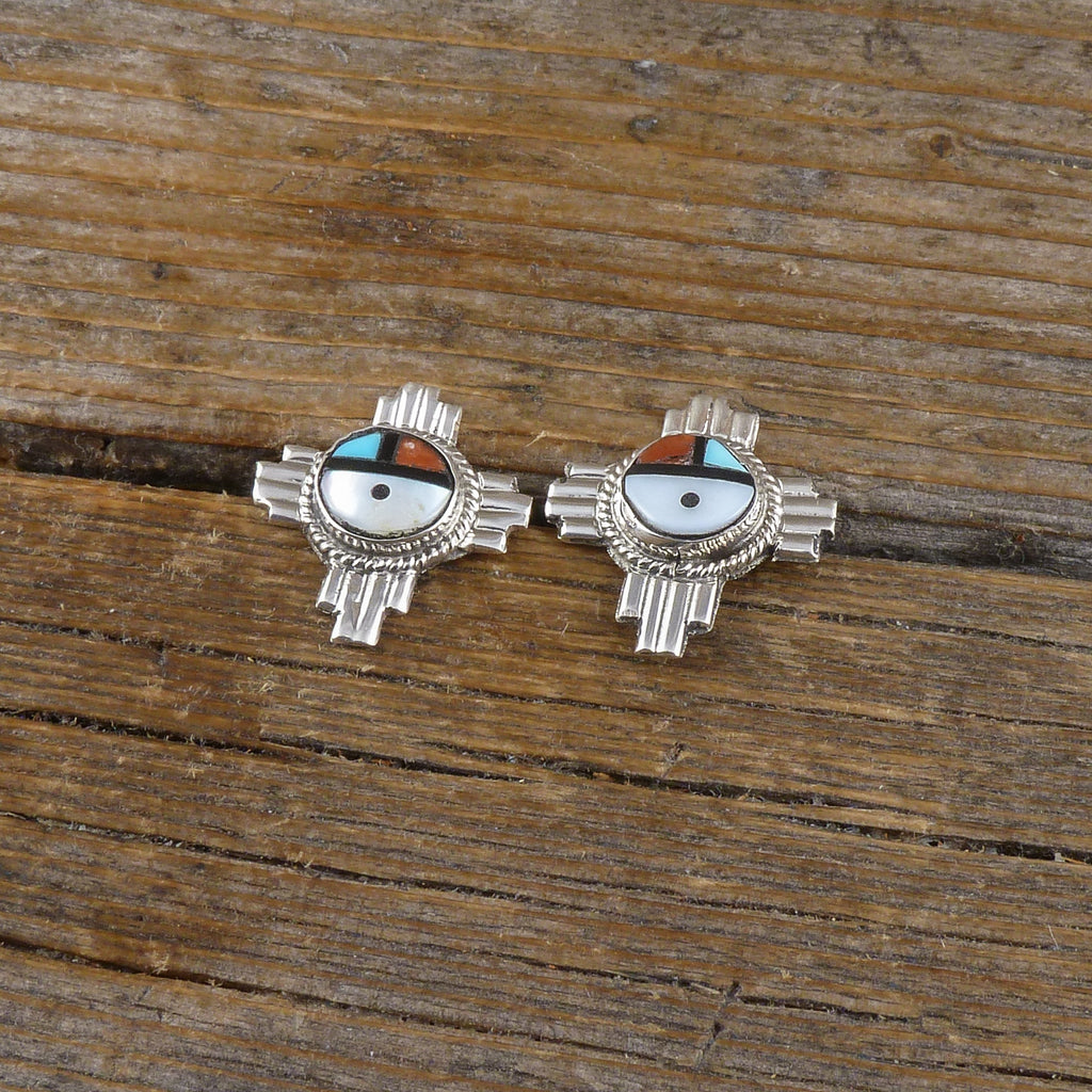 Freda Martinez Zuni Sun Face Inlay Earrings