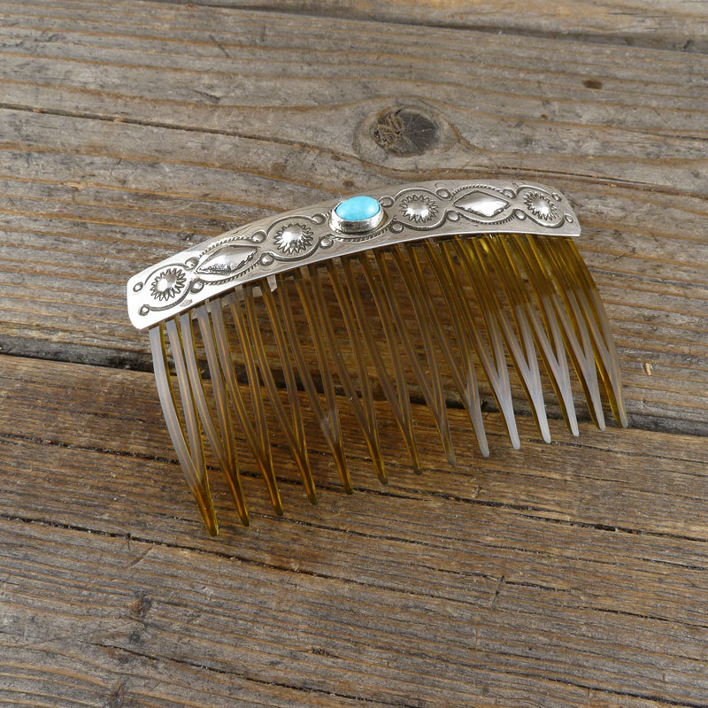 Jennie Blackgoat Turquoise Silver Stamp Hair Combs