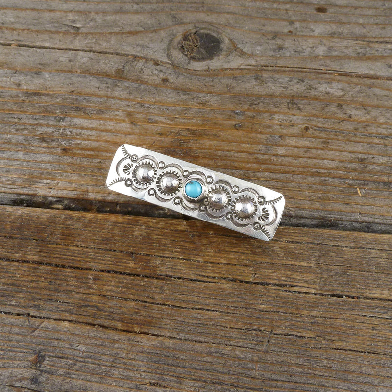 Jennie Blackgoat Turquoise Silver Stamp Hair Clip