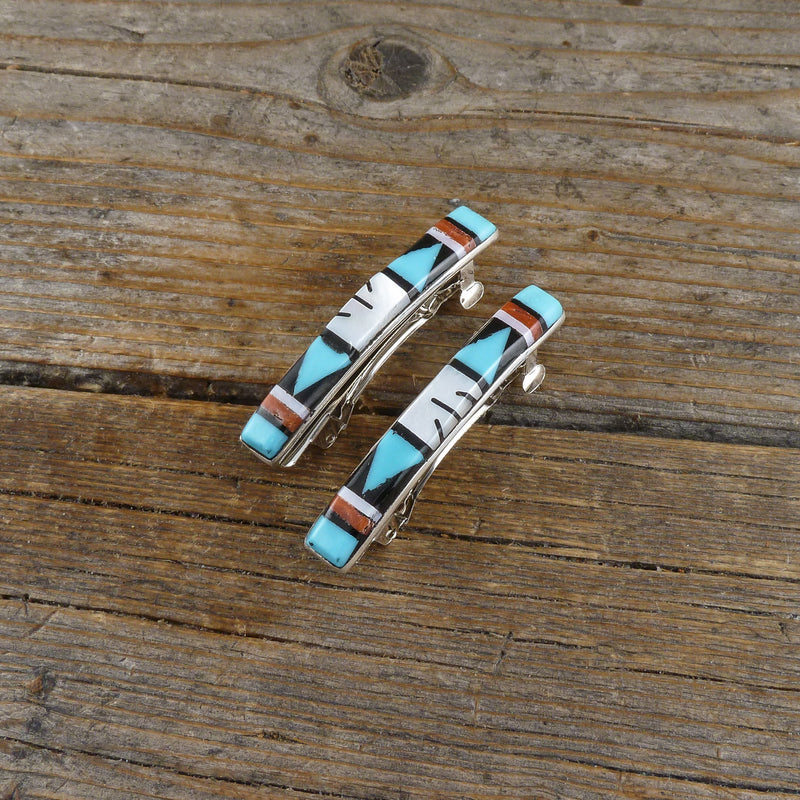 Jennie Blackgoat Turquoise/Silver Stamp Hair Clips