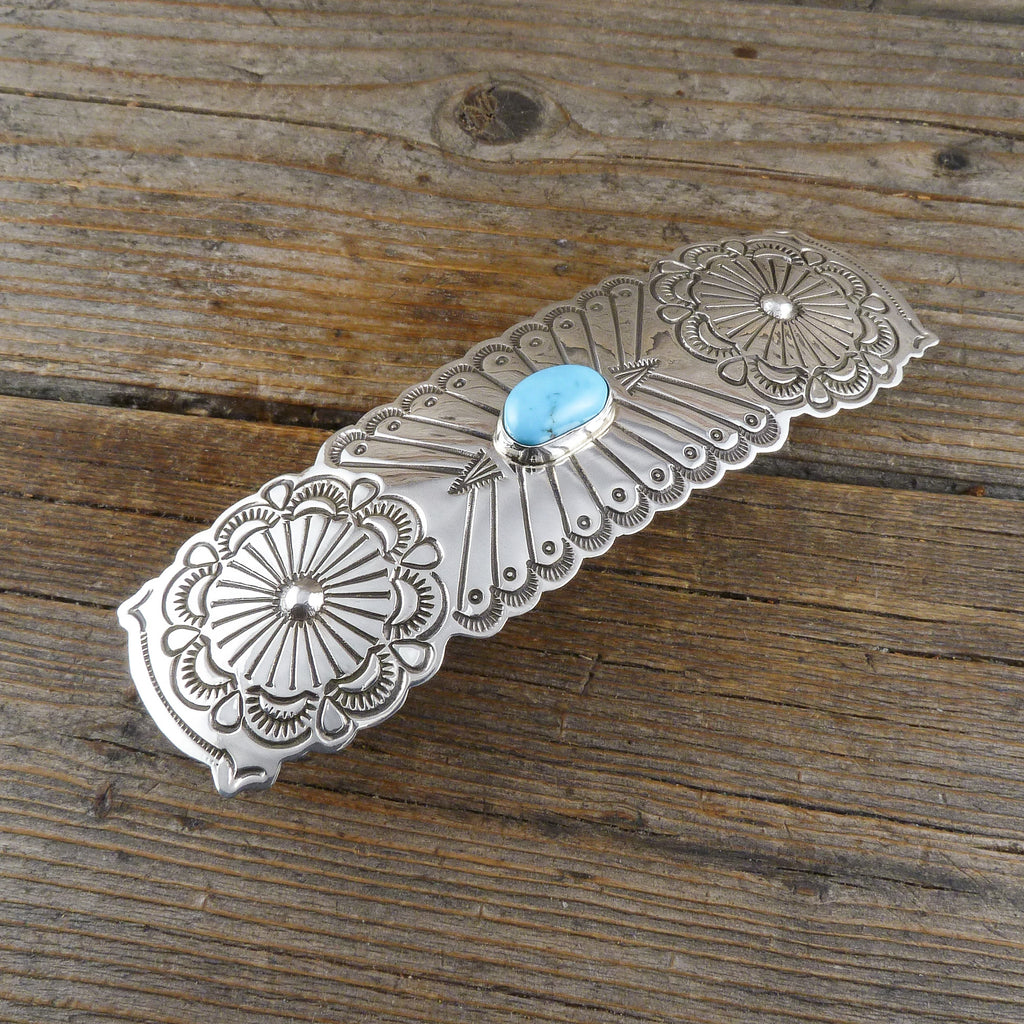 Arnold Blackgoat Turquoise Silver Stamp Hair Clip