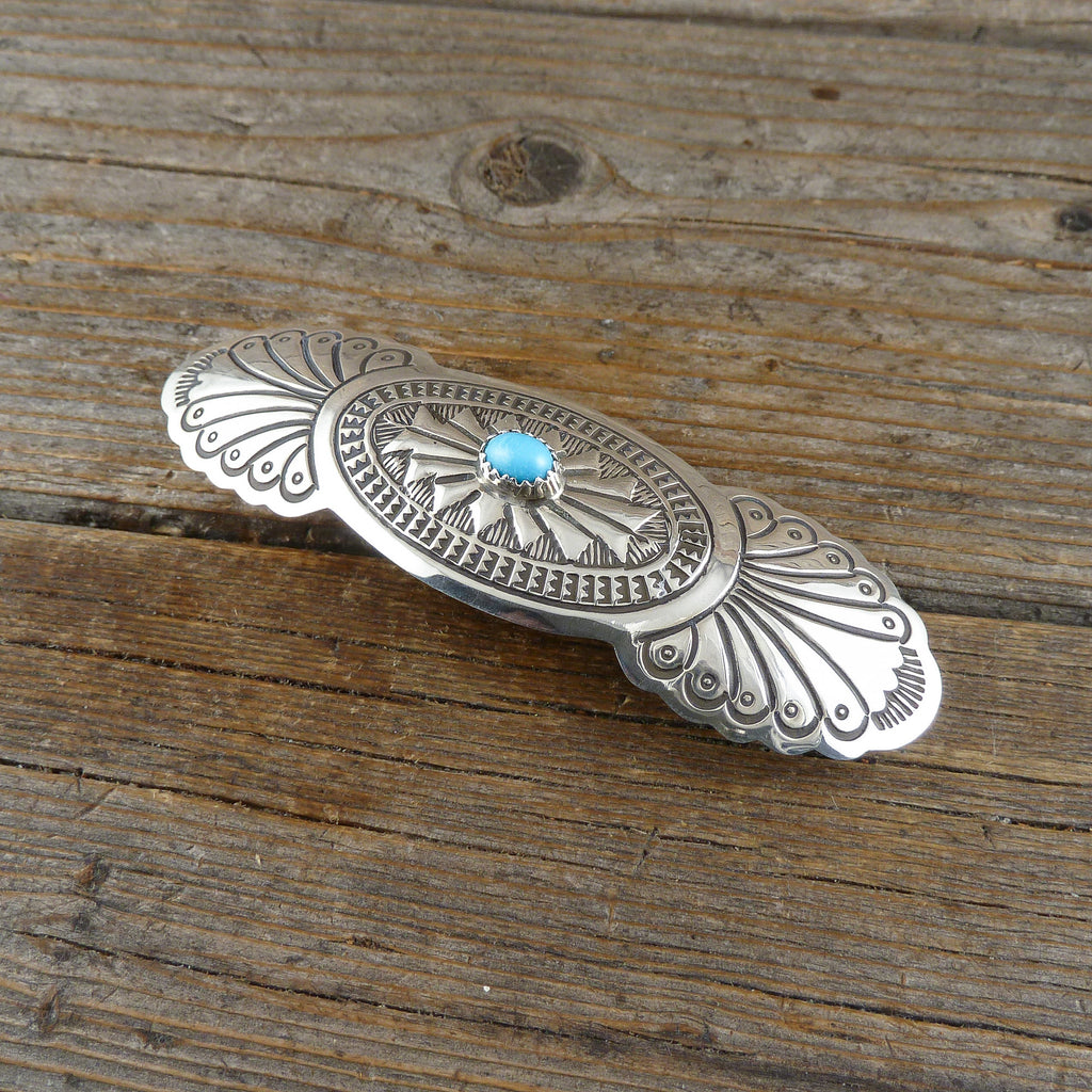 Roy Manulito Turquoise Silver Stamp Hair Clip