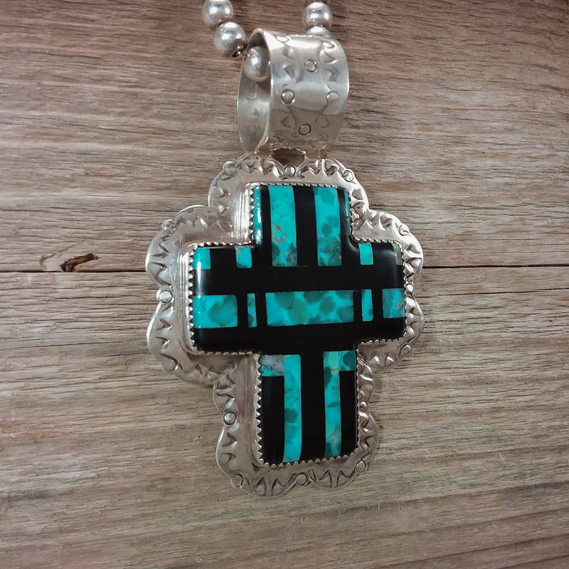 Daniel Coriz Inlay Cross Pendant