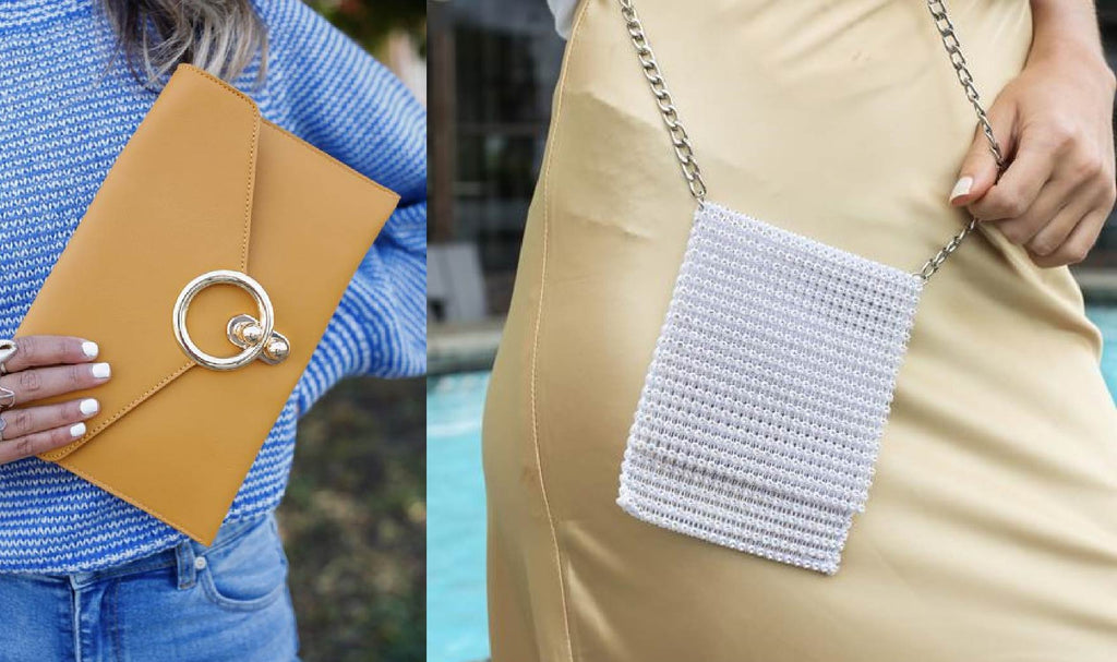 a mustard-colored clutch and a small, rhinestone bag