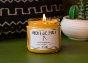 Bitches who Brunch vegan american soy hand poured candle in mandarin and champagne