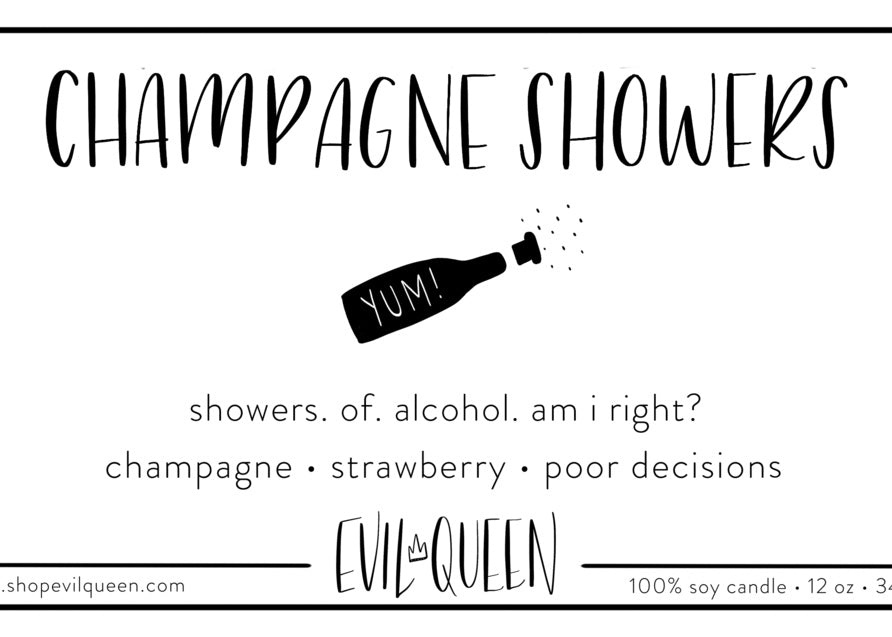 "Champagne Showers vegan american soy candle hand poured in a ""clean"" and ""crisp"" scent"