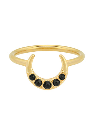 gold plated ring with crescent and black stone by Five and Two Jewelry