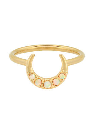 gold plated ring with crescent and opal stone by Five and Two Jewelry