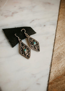 rope the moon silver and turquoise earrings