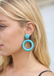 OC Boutique Turquise Circle Earrings 1