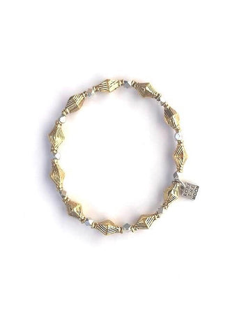 siren bracelet rope the moon jewelry gold diamond shaped beads with silver accents