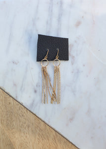 gold sparkle dangle earrings LA boutique