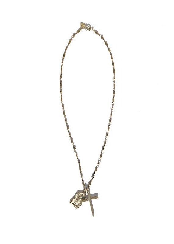 double charm rosary style necklace with brass mary and cross charm