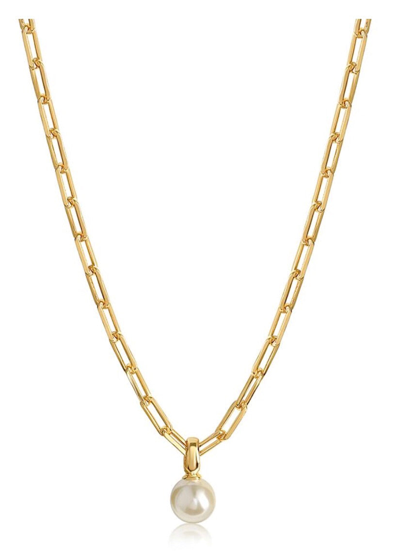 Amelia Links Chain gold filled necklace with pearl pendant OC Boutique
