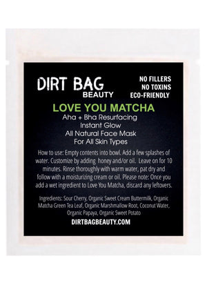 Love You Matcha Face Mask Single Use