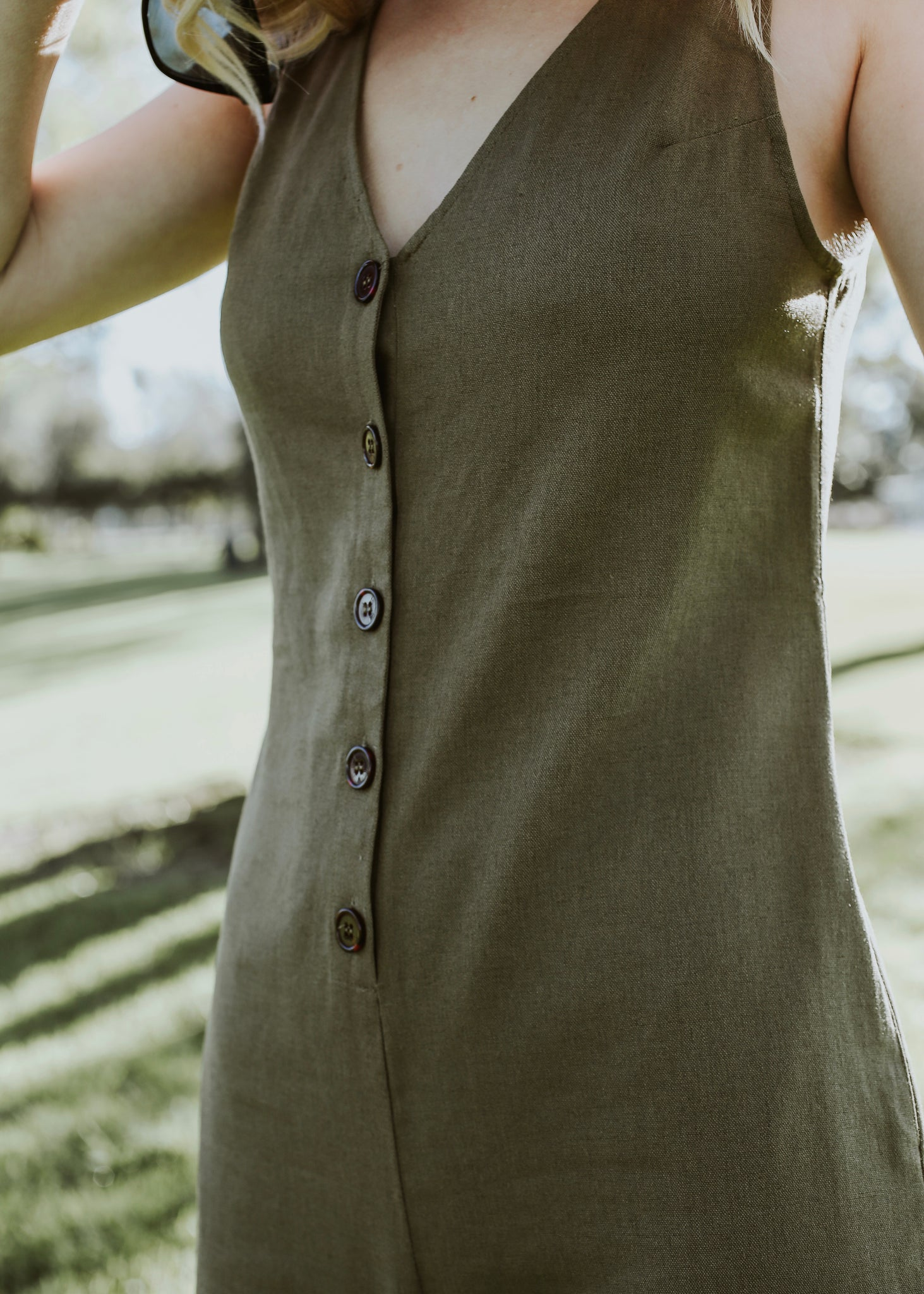 LA boutique olive green cropped jumpsuit with buttons 5