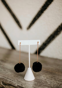 OC Boutique black pom drop earrings fashion jewelry