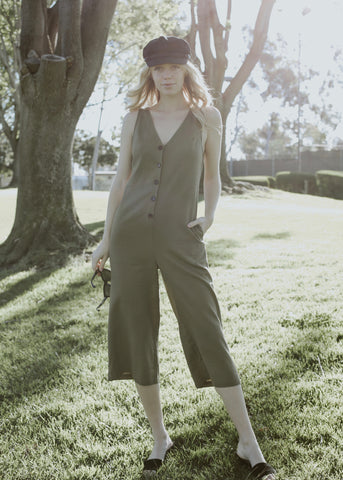 LA boutique olive green cropped jumpsuit with front buttons