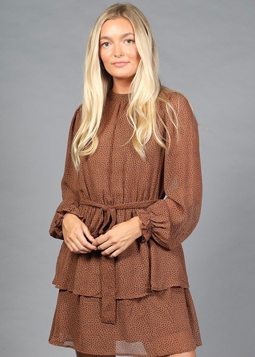 OC Boutique brown long sleeve dress with polka dot detail and ruffle hem 2