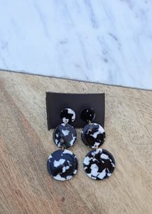 oc boutique black and white drop earrings