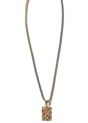 gold plated box chain with gold filled rectangle charm