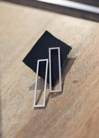 gold rectangle earrings