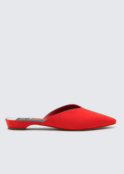 red pointed flat slides by Dolce Vita