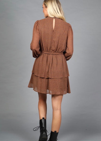 OC Boutique brown long sleeve dress with polka dot detail and ruffle hem 4