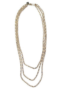 allure necklace rope the moon jewelry tripe layered gold chain necklace gold plated