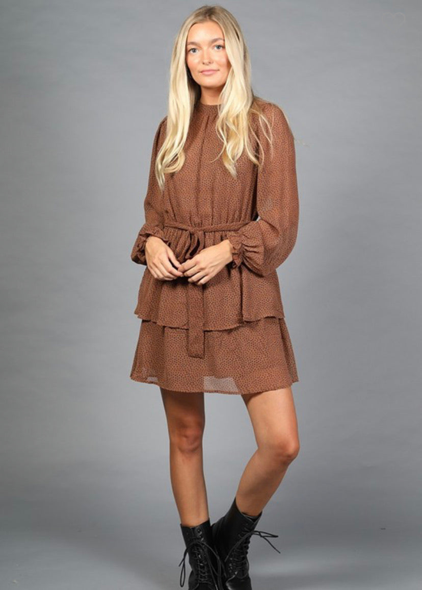 OC Boutique brown long sleeve dress with polka dot detail and ruffle hem 1