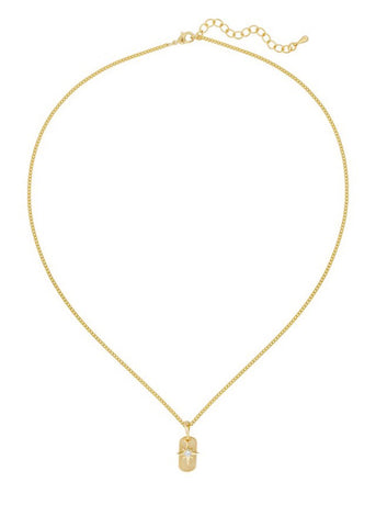 gold filed dainty chain necklace with silver star by Five and Two Jewelry