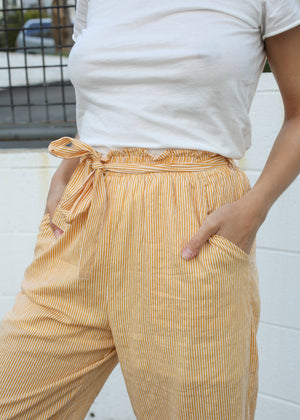 OC Boutique Eliza Striped Culotte by MINK PINK mustard and white striped high rise pants 4