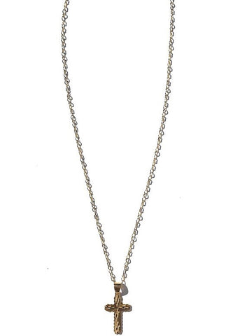 gold plated chain with gold filled cross charm