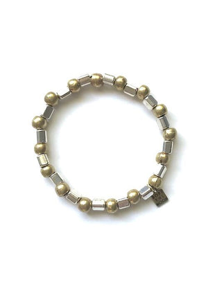 brass silver and gold beads bracelet handmade by Rope the Moon Jewelry