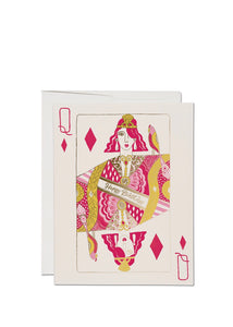 queen of diamonds red cap birthday card