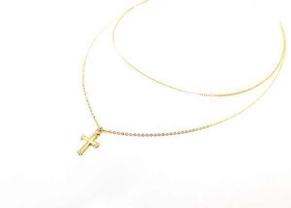 gold filled double chain necklace with cross