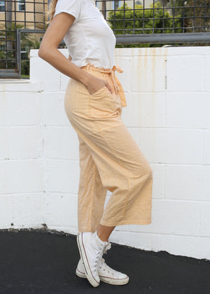 OC Boutique Eliza Striped Culotte by MINK PINK mustard and white striped high rise pants 5