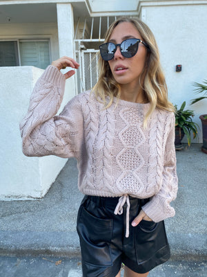 Costa Mesa Boutique womens knit pullover sweater cropped in blush 2