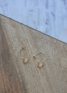 gold hoop earrings with shell detail