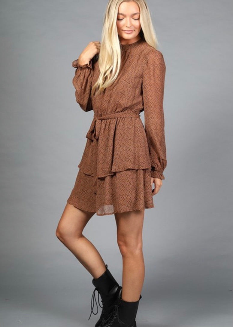 OC Boutique brown long sleeve dress with polka dot detail and ruffle hem 3