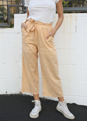 OC Boutique Eliza Striped Culotte by MINK PINK mustard and white striped high rise pants 3