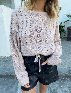 Costa Mesa Boutique womens knit pullover sweater cropped in blush 1