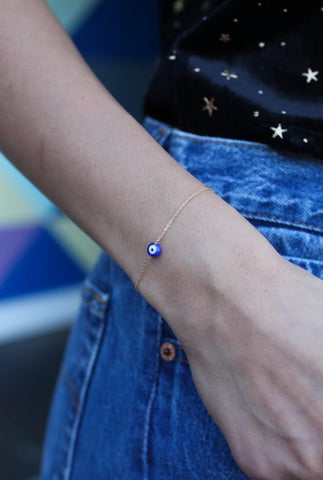 may martin dainty evil eye bracelet with gold chain