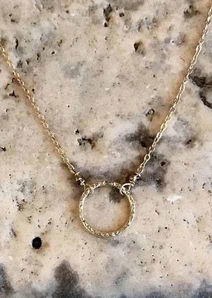 Gold filled dainty necklace with circle pendant by May Martin