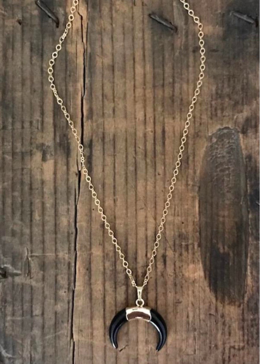 Half Moon Crescent Necklace a great piece of moon jewelry by Rope the Moon Jewelry based in Newport Beach, CA