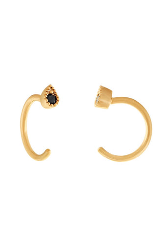 Gold and black dainty cuff earring by Five and Two Jewelry