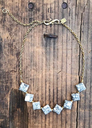 choker style necklace with diamond detail on brass chain by Rope the Moon Jewelry